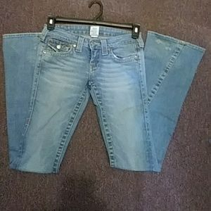 True Religion Joey 25 Faded Flare Distressed